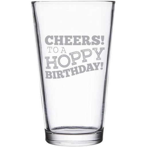 """""""Cheers! To a Hoppy Birthday!"""" etched beer glass by Etching Expressions"""