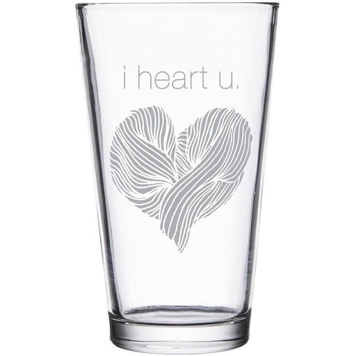"""""""i heart u."""" etched beer pint glass by Etching Expressions"""