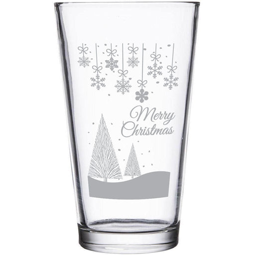 """""""Merry Christmas"""" snowy scene etched beer glass by Etching Expressions"""