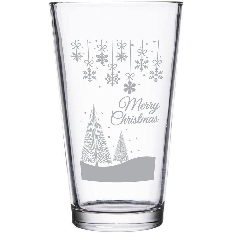 """Merry Christmas"" snowy scene etched beer glass by Etching Expressions"