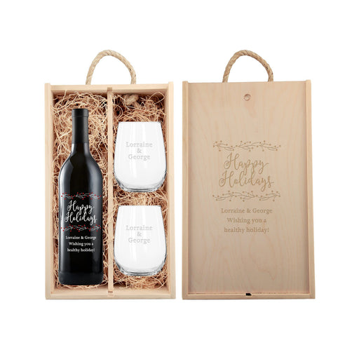 Custom holiday red wine gift set holly berries design with glassware