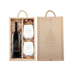 Personalized red wine holiday gift set with starry tree design with glassware