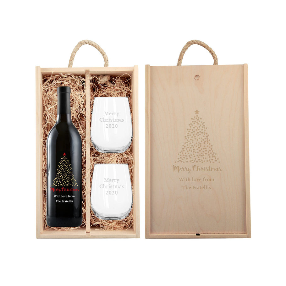 Red Wine - Happy Holidays Starry Tree - Gift Set