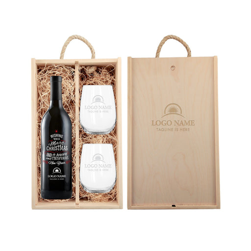 Holiday Wish custom champagne corporate gift set with logo and glasses