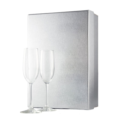 Silver gift box with two champagne flutes by Etching Expressions