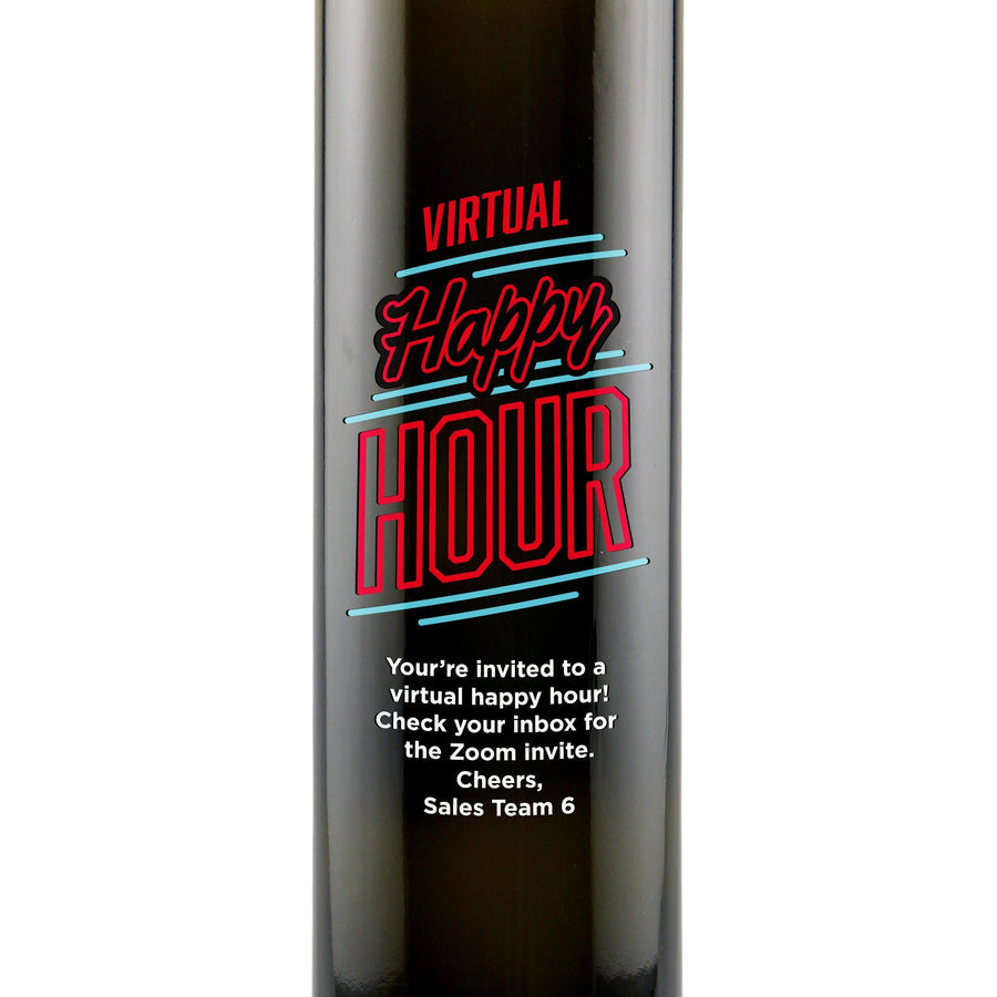 """Virtual Happy Hour"" custom olive oil bottle by Etching Expressions"