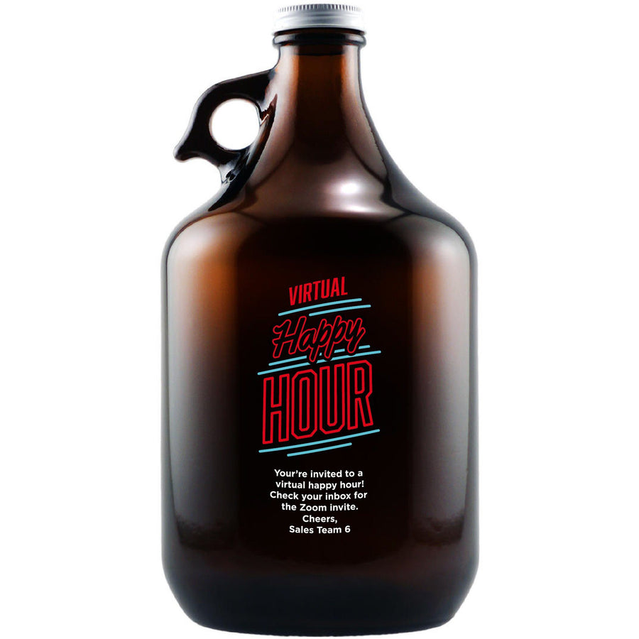 """Virtual Happy Hour"" custom beer growler by Etching Expressions"