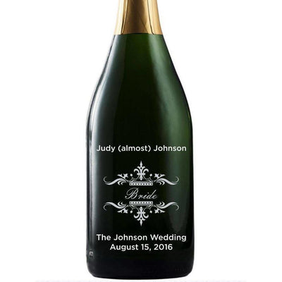 Bride traditional design custom etched champagne bottle wedding favor by Etching Expressions