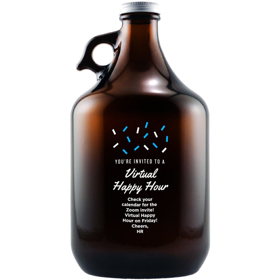 """You're Invited to a Virtual Happy Hour"" custom beer growler by Etching Expressions"