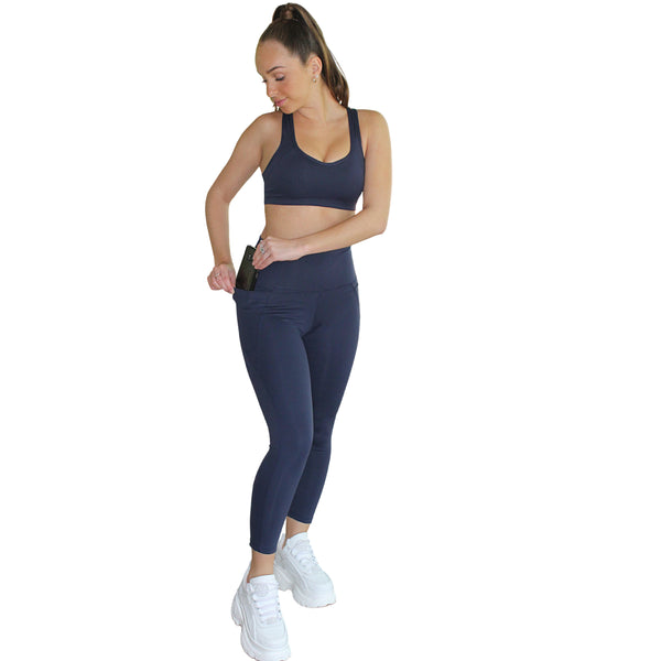 Om High Rise 7/8 Yoga Leggings - Navy