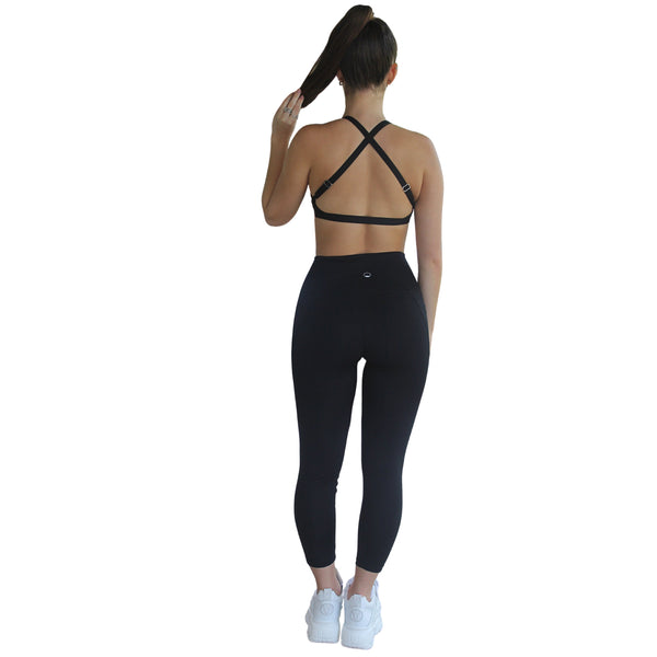Om High Rise 7/8 Yoga Leggings - Black