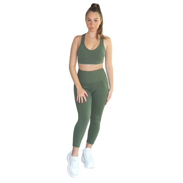 Om High Rise 7/8 Yoga Leggings - Green