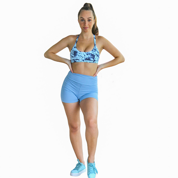 Kali Seamless High Rise Yoga Shorts - Powder Blue