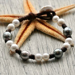 Capri Tahitian Pearl and Leather Bracelet