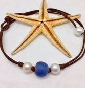 Cornflower Pearl and Leather with Glass Necklace