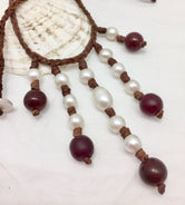 Cranberry Bog Pearl and Leather with Glass Necklace & Earring Set