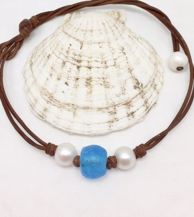 Delray Pearl and Leather with Glass Necklace
