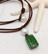 Emerald Coast Pearl and Leather with Glass Necklace