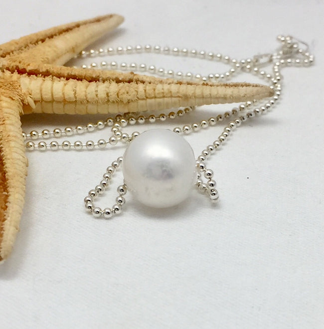 Shimmer Freshwater Pearl on Sterling Chain