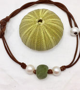 Hobe Pearl and Leather with Glass Necklace
