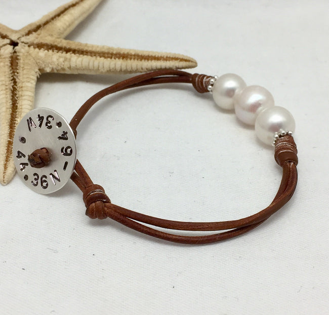 Past, Present and Future Latitude Longitude Bracelet or Anklet