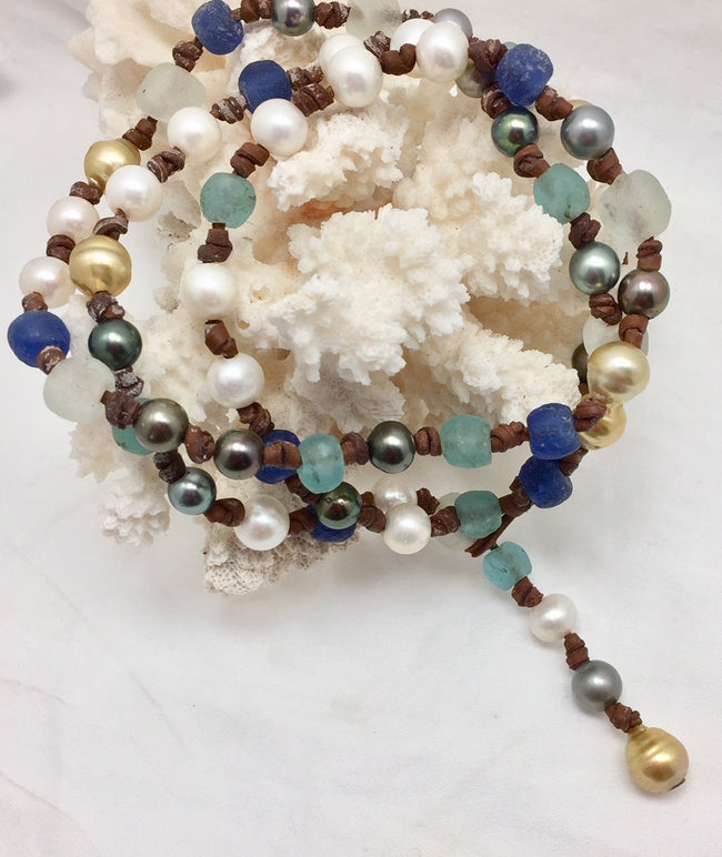 Lavallette Tahitian, Freshwater, South Sea Golden Pearl and Leather with Glass Necklace