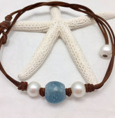 Marina Pearl and Leather with Glass Necklace