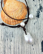 Moon Drop Pearl and Leather Necklace
