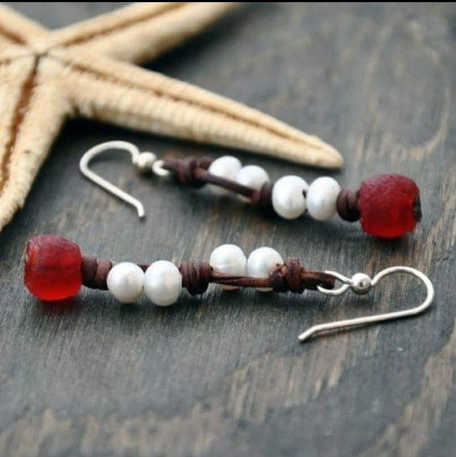 Red Wharf Bay Pearl, Leather and Glass Earrings