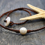 Belize Pearl and Leather Necklace
