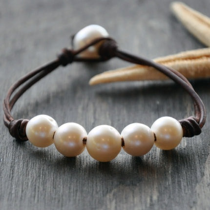 Five Elements Pearl and Leather Bracelet