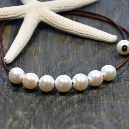 Blessings Pearl and Leather Necklace