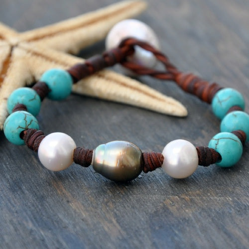 Aruba Tahitian Pearl and Leather Bracelet with Turquoise