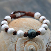 Bight Tahitian Pearl and Leather Bracelet