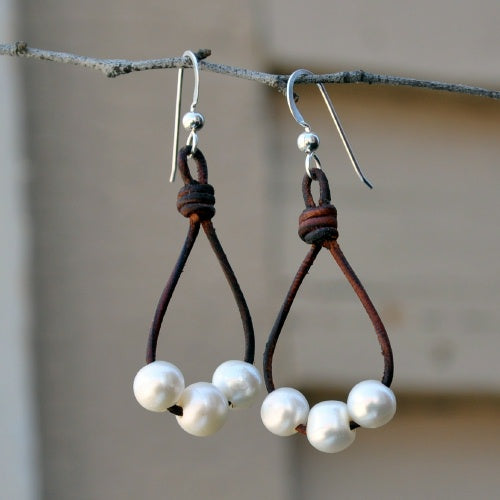 Leather and Three Pearl Hoop Earring