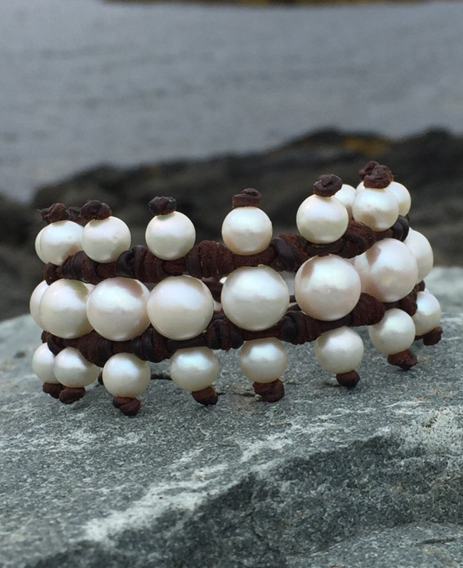 Rungs Pearl and Leather Bracelet
