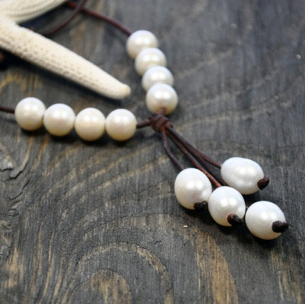 Riviera Leather and Pearl Necklace