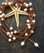 Keaton Pearl and Leather Lariat