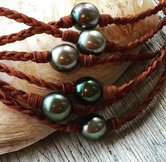 Belize Tahitian Pearl and Leather Necklace