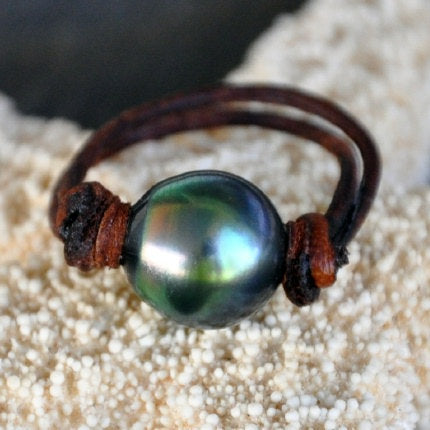 Perfection Tahitian Pearl and Leather Ring