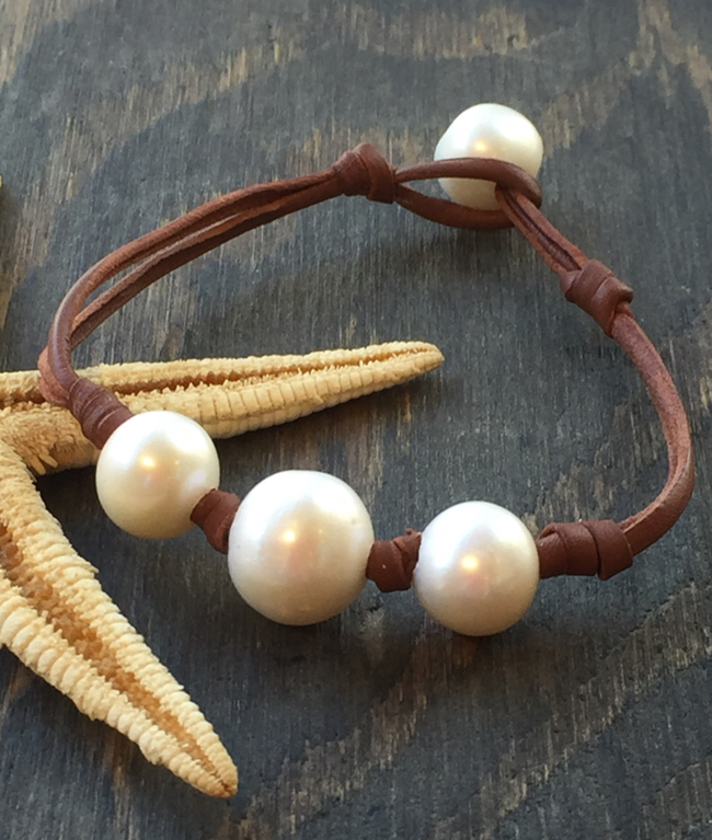 Barque Leather and Pearl Bracelet