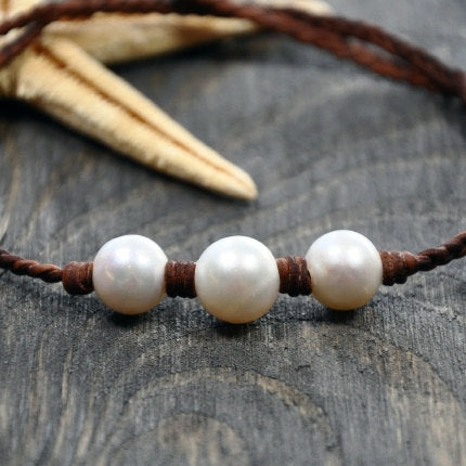 Trinity Leather and Pearl Necklace
