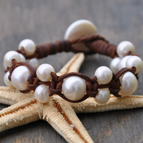 Odyssey Leather and Pearl Bracelet