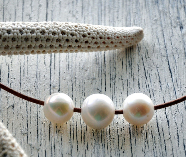 Three Wishes Leather and Pearl Necklace