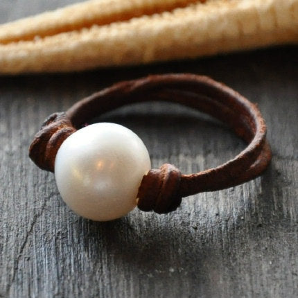 Perfect Pearl and Leather Ring