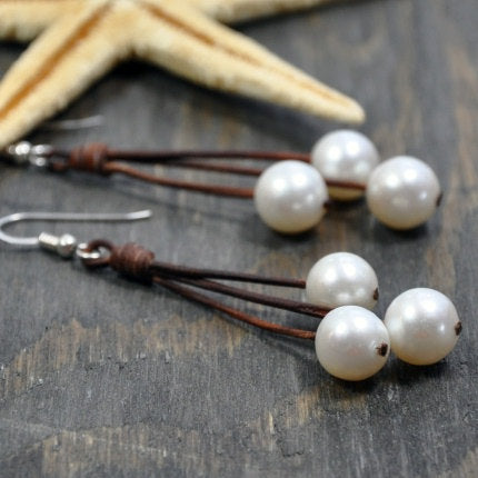 Sea Floats Leather and Pearl Earring