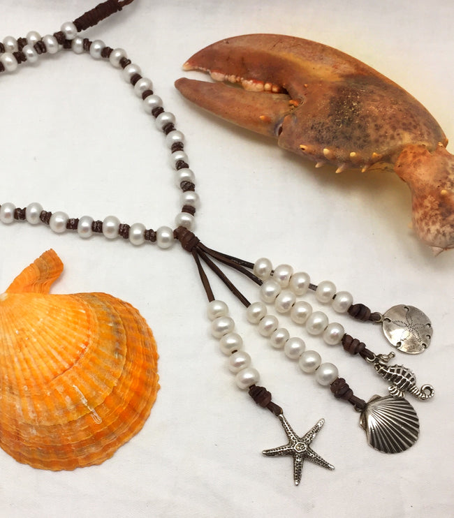 Sea Treasures Pearl and Leather Necklace