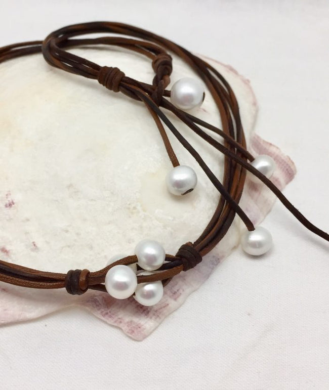 Sea Bubbles Pearl and Leather Necklace