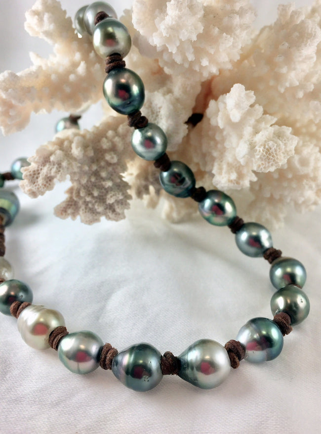 Jackie Tahitian Pearl and Leather Necklace