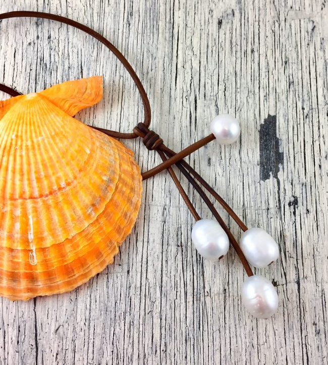 Seaplicity Leather and Pearl Necklace